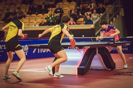 STOCKHOLM, SWEDEN - NOV 15, 2015: Final match in double between Ye, Yihan (SIN) and Meng, Zi (CHI) at the table tennis tournament SOC at the arena Eriksdalshallen.