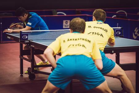 tabletennis: STOCKHOLM, SWEDEN - NOV 11, 2015: Table tennis tournament SOC at the arena Eriksdalshallen. Swedish Open Championships