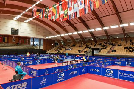 tabletennis: STOCKHOLM, SWEDEN - NOV 11, 2015: Table tennis tournament SOC in the arena Eriksdalshallen. Swedish Open Championships Editorial