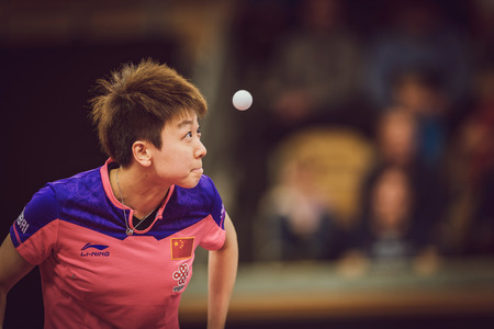 racket stadium: STOCKHOLM, SWEDEN - NOV 15, 2015: Finals between Mu Zi (CHI) and Zhu Yuling (CHI) in table tennis tournament SOC at the arena Eriksdalshallen.