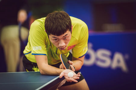 finals: STOCKHOLM, SWEDEN - NOV 15, 2015: Finals between Fan Zhendong (CHI) and Xu Xin (CHI) in table tennis tournament SOC at the arena Eriksdalshallen.