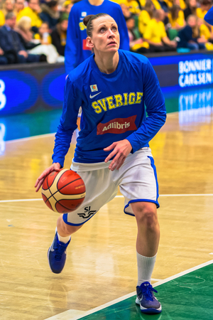 qualifier: SODERTALJE, SWEDEN - NOV 21, 2015: Warmup at the women European Qualifier basketball game between Sweden and Spain at Taljehallen. Editorial
