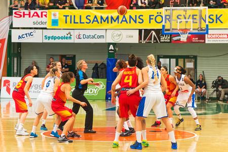 qualifier: SODERTALJE, SWEDEN - NOV 21, 2015: Women European Basketball Qualifier game between Sweden and Spain at Taljehallen. Editorial
