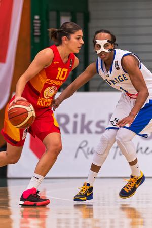 marta: SODERTALJE, SWEDEN - NOV 21, 2015: Marta Xargay at the Women European Basketball Qualifier game between Sweden and Spain at Taljehallen.