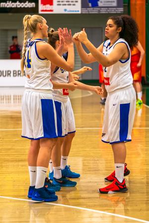 qualifier: SODERTALJE, SWEDEN - NOV 21, 2015: Just before the women European Qualifier basketball game between Sweden and Spain at Taljehallen.