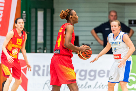 qualifier: SODERTALJE, SWEDEN - NOV 21, 2015: Sancho Lyttle in the Women European Basketball Qualifier game between Sweden and Spain at Taljehallen.