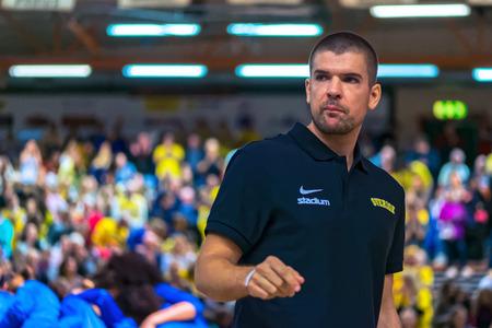 qualifier: SODERTALJE, SWEDEN - NOV 21, 2015: Swedish staff during the European Qualifier basket game between Sweden and Spain