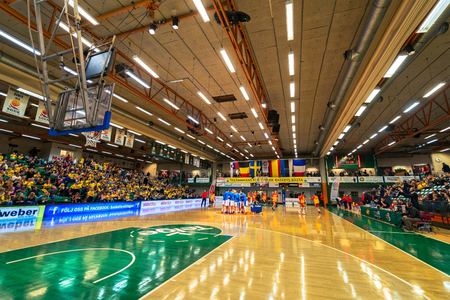 qualifier: SODERTALJE, SWEDEN - NOV 21, 2015: Women European Qualifier game between Sweden and Spain at Taljehallen.