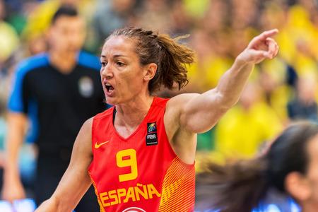 qualifier: SODERTALJE, SWEDEN - NOV 21, 2015: Laila Palau in the Women European Basketball Qualifier game between Sweden and Spain at Taljehallen. Editorial