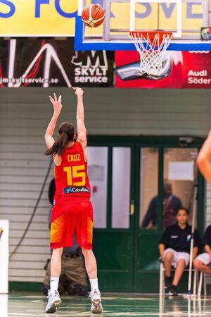 international basketball: SODERTALJE, SWEDEN - NOV 21, 2015: Penelty shot by Anna Cruz in the Women European Basketball Qualifier game between Sweden and Spain at Taljehallen.