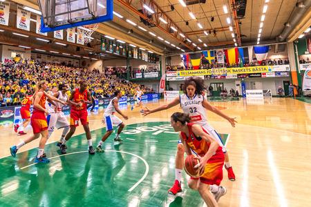european championship: SODERTALJE, SWEDEN - NOV 21, 2015: Sancho Lyttle in the Women European Basketball Qualifier game between Sweden and Spain at Taljehallen.