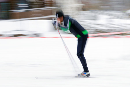cross country: STOCKHOLM, SWEDEN - JAN 24, 2016: Testing of the equipment before the start at Ski Marathon in cross country skiing classic style.