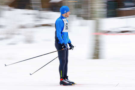 start to cross: STOCKHOLM, SWEDEN - JAN 24, 2016: Testing of the equipment before the start at Ski Marathon in cross country skiing classic style.