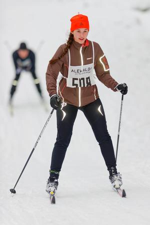 nordic ski: STOCKHOLM, SWEDEN - JAN 24, 2016: Female skier at the event Ski Marathon in nordic skiing classic style.