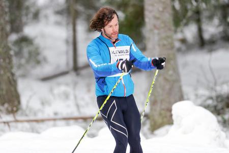 nordic ski: STOCKHOLM, SWEDEN - JAN 24, 2016: Closeup of a male ski runner at the event Ski Marathon in nordic skiing classic style.