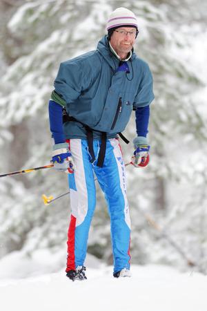 nordic ski: STOCKHOLM, SWEDEN - JAN 24, 2016: Male skier at the event Ski Marathon in nordic skiing classic style.