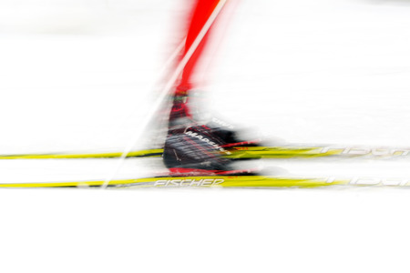 cross country: STOCKHOLM, SWEDEN - JAN 24, 2016: Motion blur at the Ski Marathon in cross country skiing classic style. Lida in Stockholm Editorial