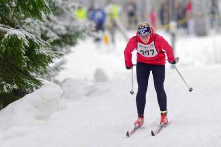 nordic ski: STOCKHOLM, SWEDEN - JAN 24, 2016: Ski Marathon in nordic skiing classic style.