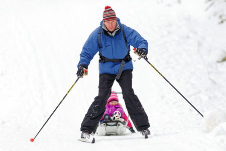 nordic ski: STOCKHOLM, SWEDEN - JAN 24, 2016: Dad with doughter on a sled at the Ski Marathon in nordic skiing classic style. Editorial