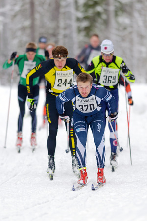 elite: STOCKHOLM, SWEDEN - JAN 24, 2016: Elite group at the Ski Marathon in nordic skiing classic style. Editorial