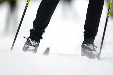 crosscountry: STOCKHOLM, SWEDEN - JAN 24, 2016: Detail of legs and feet at the Ski Marathon in crosscountry skiing classic style.