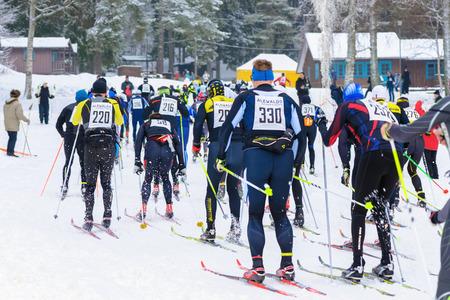 start to cross: STOCKHOLM, SWEDEN - JAN 24, 2016: Just after the mass start at the cross ski event Ski Marathon at Lida.