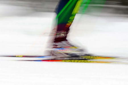 nordic ski: STOCKHOLM, SWEDEN - JAN 24, 2016: Colorful skiing legs in motion blur. Ski Marathon in nordic skiing classic style. Editorial