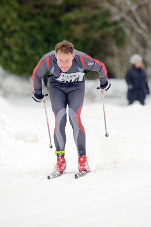 cross country: STOCKHOLM, SWEDEN - JAN 24, 2016: The final stretch of the Ski Marathon in cross country skiing classic style. Editorial