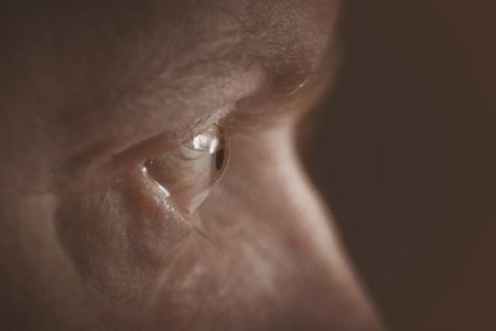 側から写真の目。セピア色のトーン 写真素材
