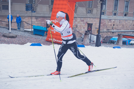 cross country: STOCKHOLM, SWEDEN - FEB 11, 2016: Cross country skier Charlotte Kalla at the FIS World Cup Sprint event at the Royal Palace Sprint in Stockholm. Editorial
