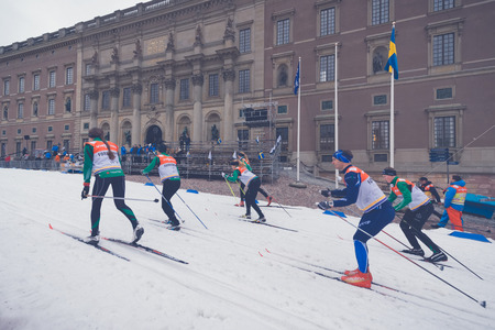 forerunner: STOCKHOLM, SWEDEN - FEB 11, 2016: Forerunners at the FIS World Cup Sprint event at the Royal Palace Sprint in Stockholm.