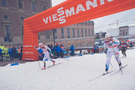 historic world event: STOCKHOLM, SWEDEN - FEB 11, 2016: Cross country skier Ida Ingmardotter at the FIS World Cup Sprint event at the Royal Palace Sprint in Stockholm.