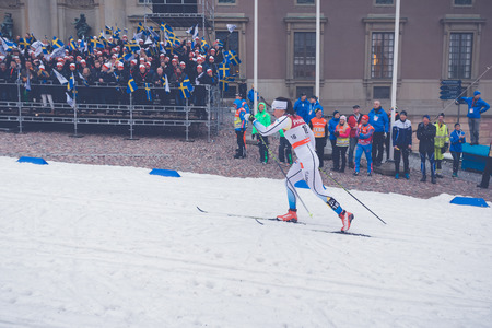 historic world event: STOCKHOLM, SWEDEN - FEB 11, 2016: Cross country skier Charlotte Kalla at the FIS World Cup Sprint event at the Royal Palace Sprint in Stockholm. Editorial