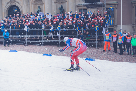 fis: STOCKHOLM, SWEDEN - FEB 11, 2016: Cross country skier Petter Northug at the FIS World Cup Sprint event at the Royal Palace Sprint in Stockholm. Editorial