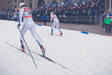 ida: STOCKHOLM, SWEDEN - FEB 11, 2016: Cross country skier Ida Ingmardotter at the FIS World Cup Sprint event at the Royal Palace Sprint in Stockholm.