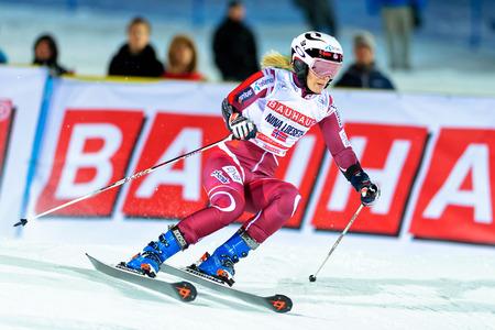 nina: STOCKHOLM, SWEDEN - FEB 23, 2016: Nina Loeseth (NOR) at FIS SKI WORLD CUP Editorial