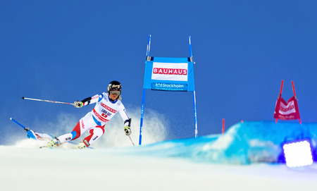 world cup: STOCKHOLM, SWEDEN - FEB 23, 2016: Lara Gut (SUI) in action at FIS SKI WORLD CUP