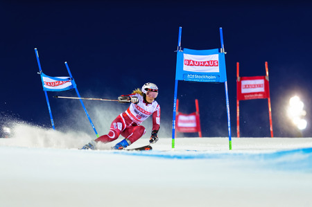 world cup: STOCKHOLM, SWEDEN - FEB 23, 2016: Nina Loeseth (NOR) at FIS SKI WORLD CUP Editorial