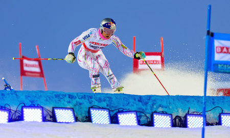 fis: STOCKHOLM, SWEDEN - FEB 23, 2016: Lindsey Vonn (USA) in action at FIS SKI WORLD CUP Editorial