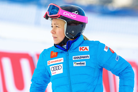 fis: STOCKHOLM, SWEDEN - FEB 23, 2016: Frida Hansdotter inspecting the course before FIS SKI WORLD CUP at Hammarbybacken in Stockholm Editorial