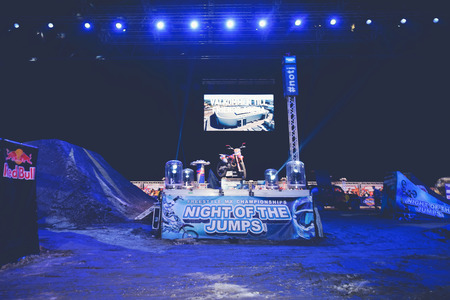 solna: SOLNA, SWEDEN - MARCH 4, 2016: Podium with a FMX motorbike at the Night of the jumps in Stockholm, Friends arena