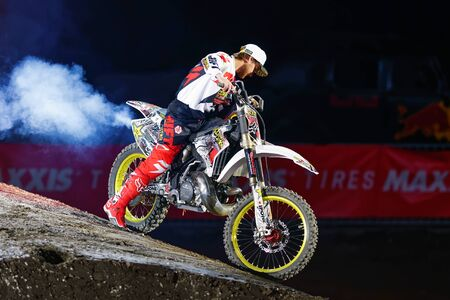 solna: SOLNA, SWEDEN - MARCH 4, 2016: Presentation of Rockstar racer at the Night of the jumps in Stockholm, Friends arena
