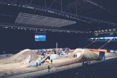 solna: SOLNA, SWEDEN - MARCH 4, 2016: Preparing of the track and jumps at the Night of the jumps in Stockholm, Friends arena
