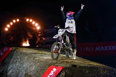 solna: SOLNA, SWEDEN - MARCH 4, 2016: Acrobatic jump from Fredrik Berggren (SWE) at the Night of the jumps in Stockholm, Friends arena