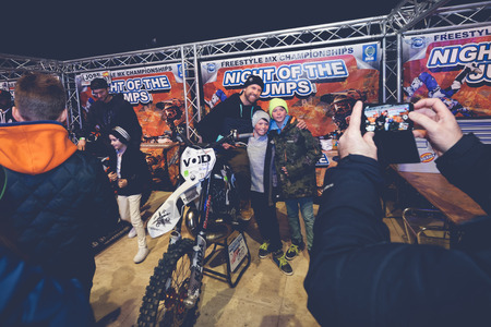 solna: SOLNA, SWEDEN - MARCH 4, 2016: In the pits with Frog, Fredrik Berggren at the Night of the jumps in Stockholm, Friends arena Editorial