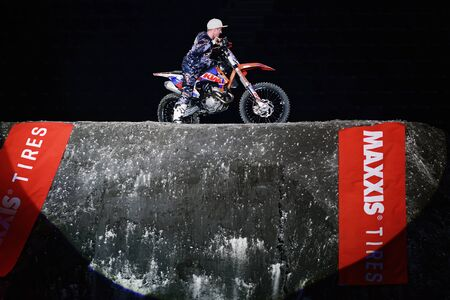 solna: SOLNA, SWEDEN - MARCH 4, 2016: Presentation of Hannes Ackermann (GER) at the Night of the jumps in Stockholm, Friends arena Editorial