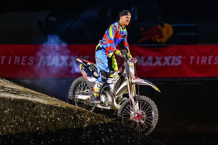 solna: SOLNA, SWEDEN - MARCH 4, 2016: Presentation of Maikel Melero (ESP) at the Night of the jumps in Stockholm, Friends arena