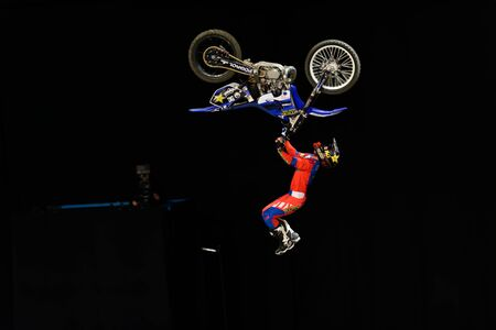 solna: SOLNA, SWEDEN - MARCH 4, 2016: Acrobatic jump from Libor Podmol (CZE) at the Night of the jumps in Stockholm, Friends arena