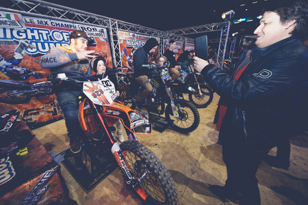 solna: SOLNA, SWEDEN - MARCH 4, 2016: In the pits at the Night of the jumps in Stockholm, Friends arena