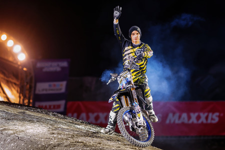 solna: SOLNA, SWEDEN - MARCH 4, 2016: Presentation of Rob Adelberg (AUS) at the Night of the jumps in Stockholm, Friends arena